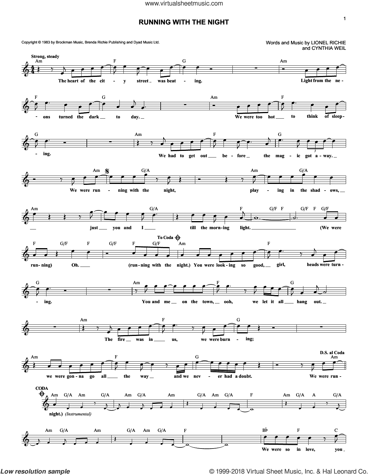 Running With The Night sheet music for voice and other instruments (fake book) by Lionel Richie and Cynthia Weil, intermediate skill level