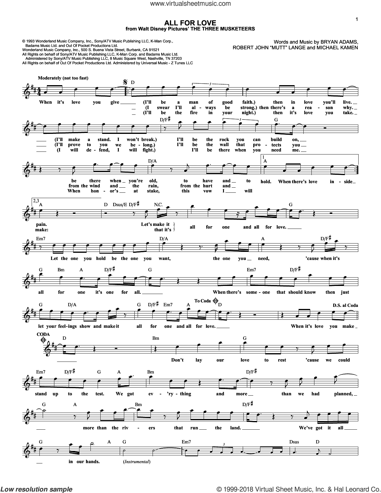 All For Love sheet music for voice and other instruments (fake book) by Robert John Lange