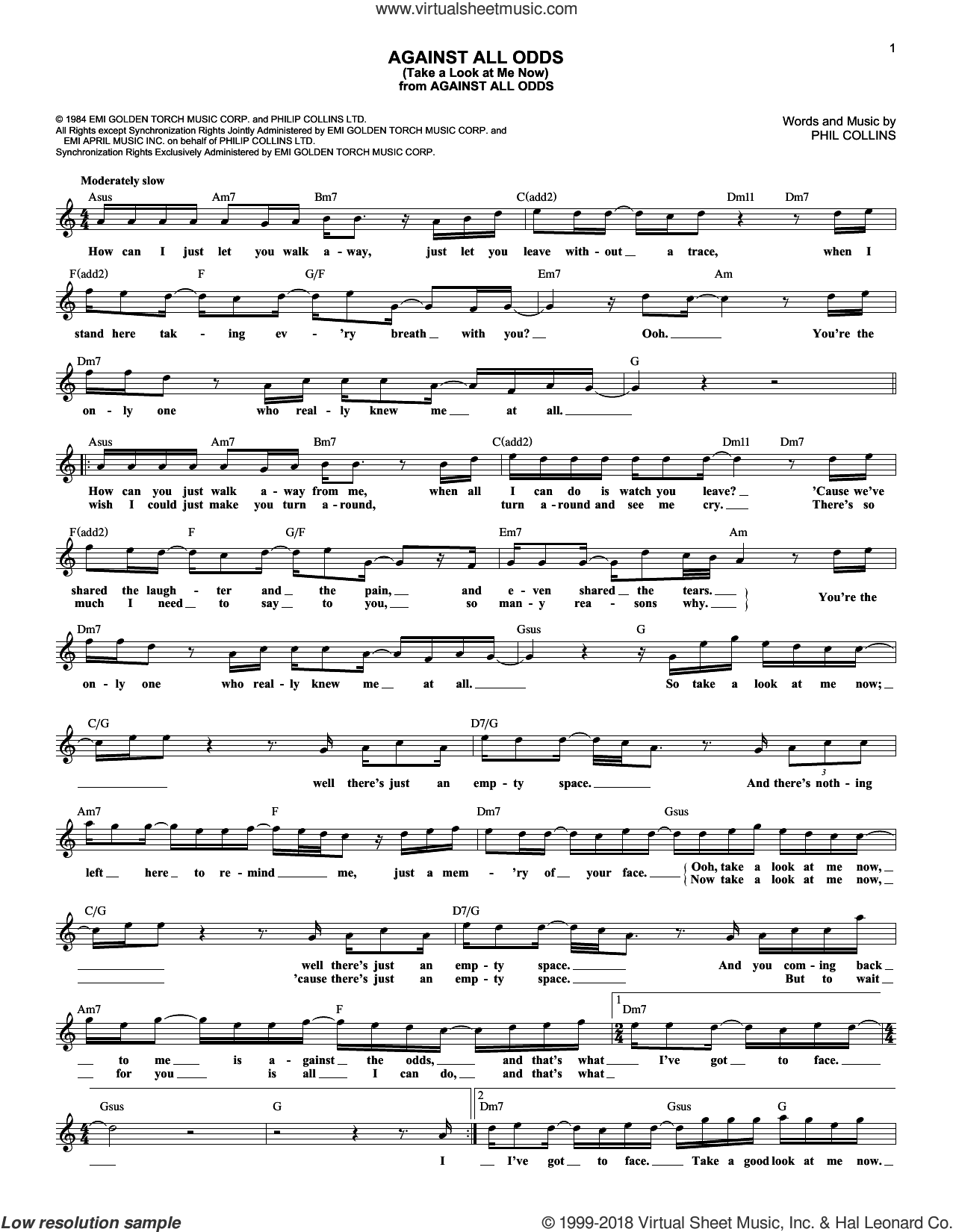 Against All Odds (Take A Look At Me Now) sheet music for voice and other instruments (fake book) by Phil Collins. Score Image Preview.