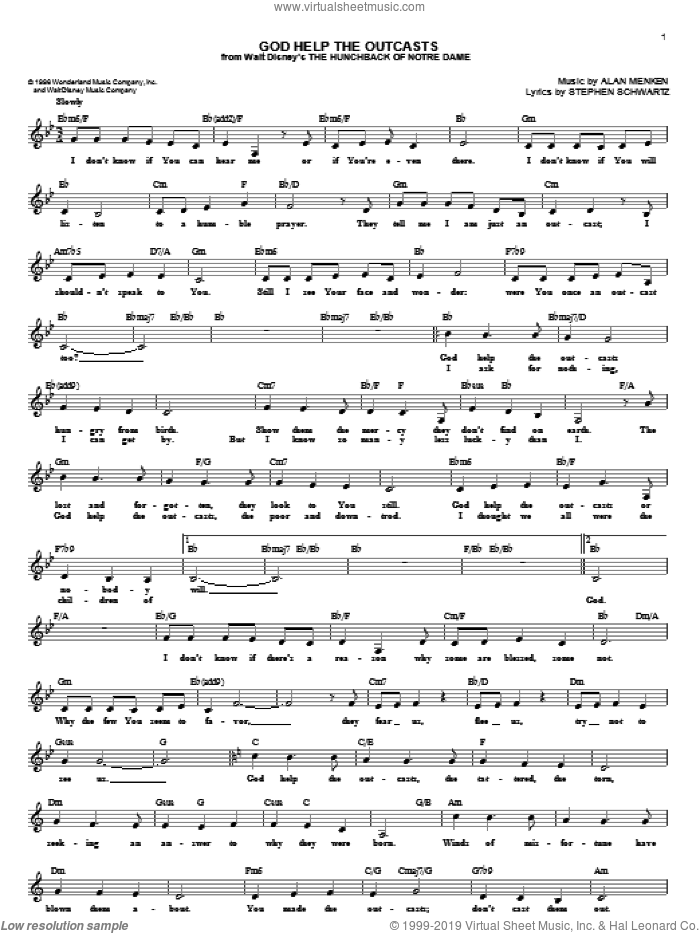 God Help The Outcasts sheet music for voice and other instruments (fake book) by Bette Midler, Alan Menken and Stephen Schwartz, intermediate skill level