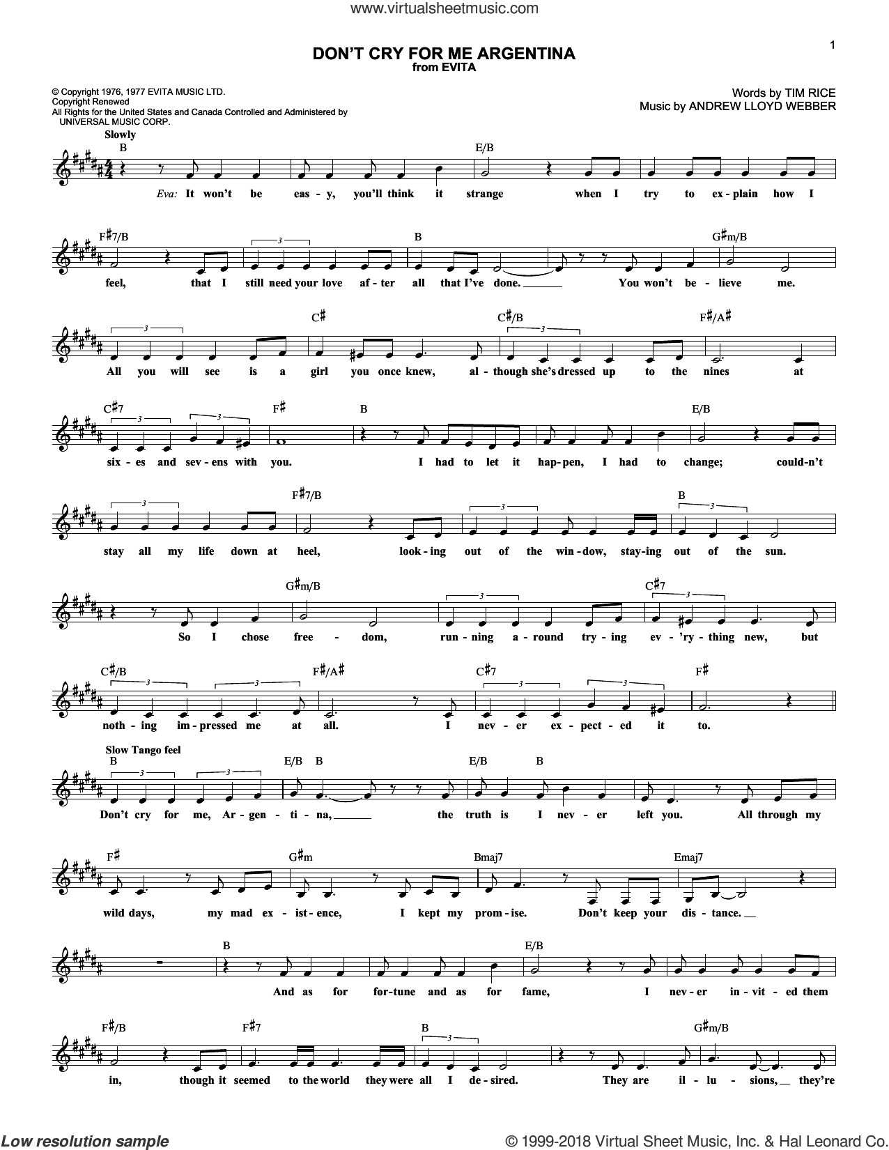 Don't Cry For Me Argentina sheet music for voice and other instruments (fake book) by Andrew Lloyd Webber, Madonna and Tim Rice, intermediate skill level