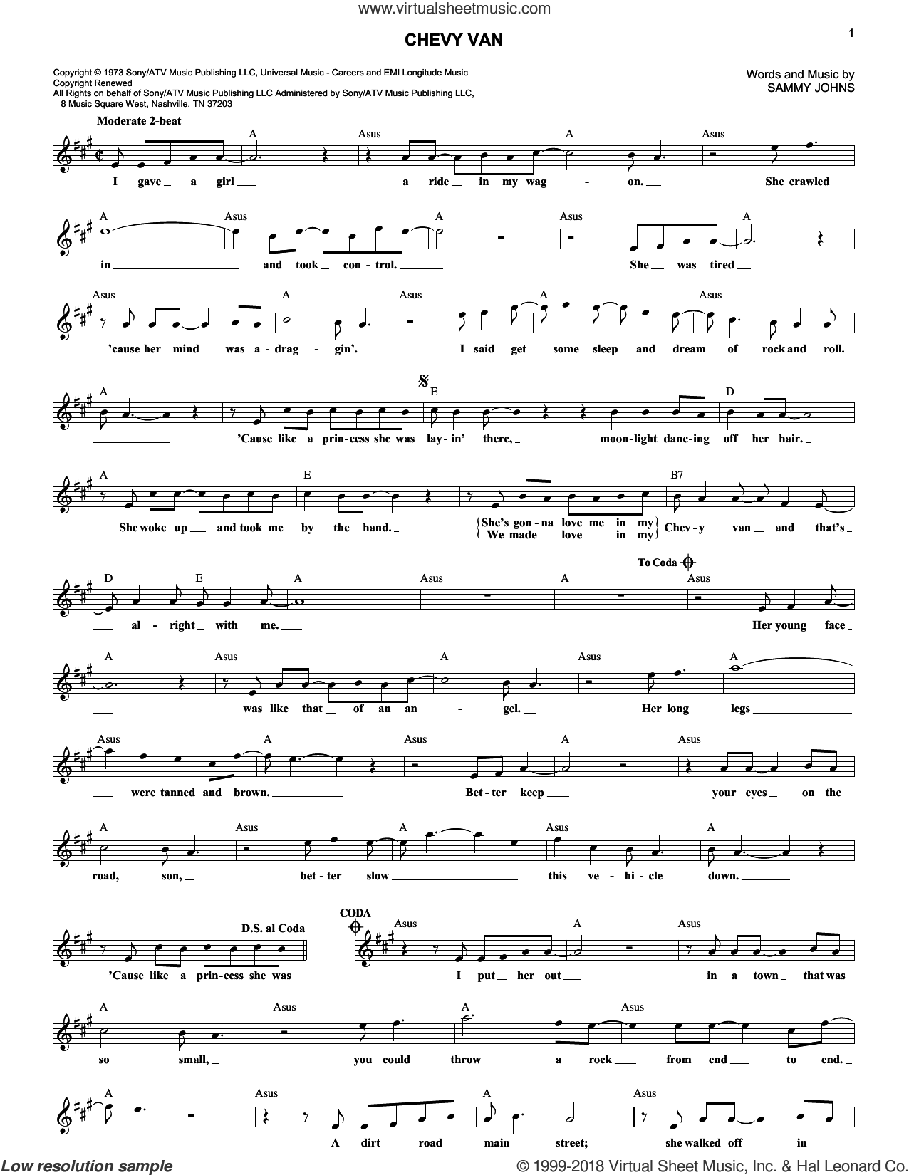 Chevy Van sheet music for voice and other instruments (fake book) by Sammy Johns, intermediate skill level