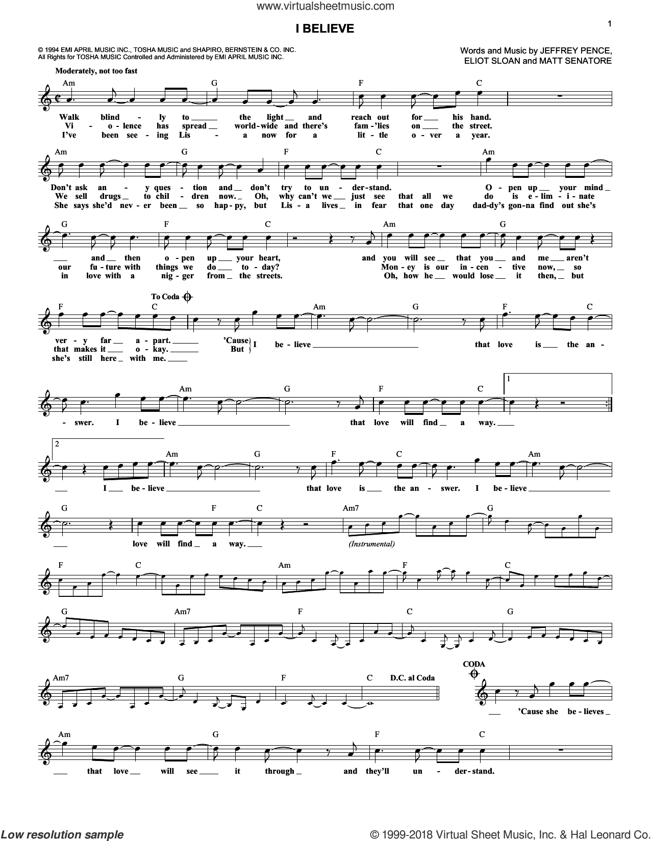 I Believe sheet music for voice and other instruments (fake book) by Blessid Union Of Souls. Score Image Preview.
