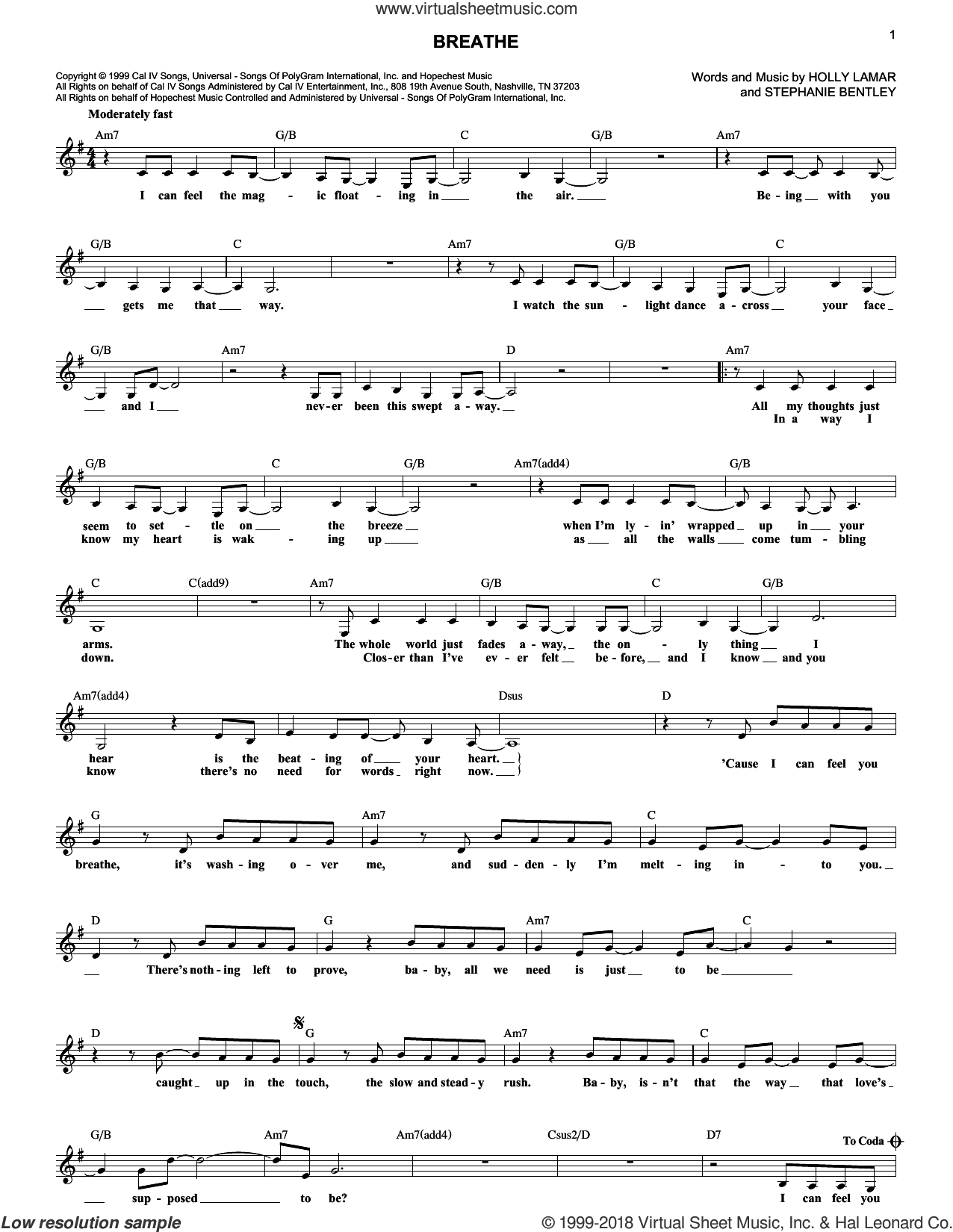 Breathe sheet music for voice and other instruments (fake book) by Faith Hill, Holly Lamar and Stephanie Bentley, intermediate skill level