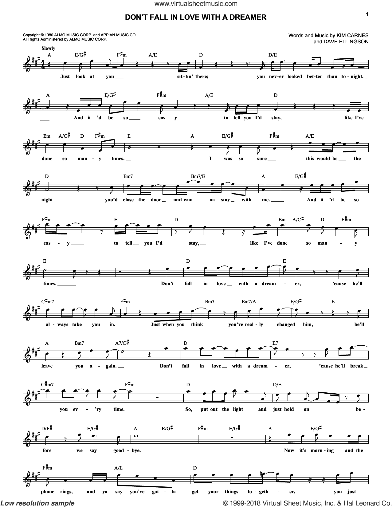 Don't Fall In Love With A Dreamer sheet music for voice and other instruments (fake book) by Kim Carnes and Dave Ellingson. Score Image Preview.