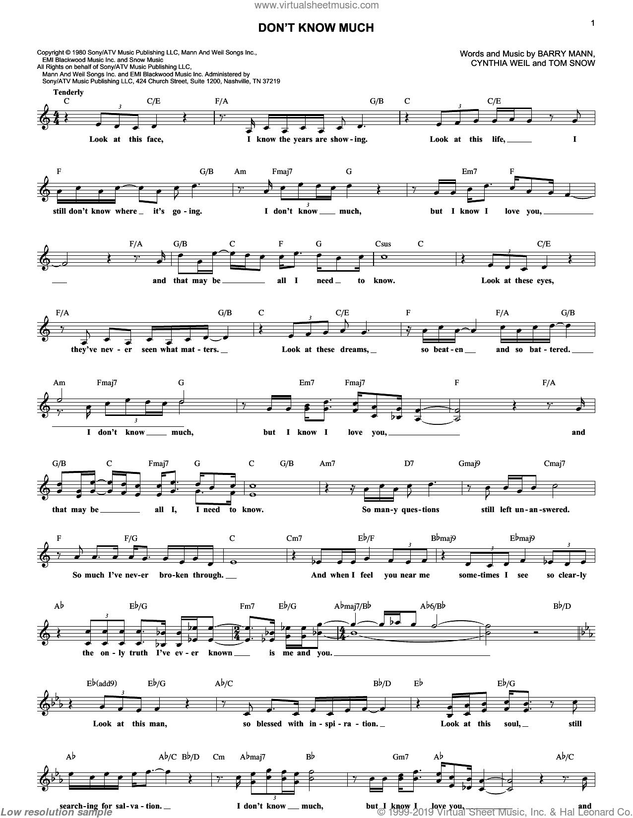 Don't Know Much sheet music for voice and other instruments (fake book) by Aaron Neville and Linda Ronstadt, Linda Ronstadt and Aaron Neville, Barry Mann, Cynthia Weil and Tom Snow, wedding score, intermediate skill level