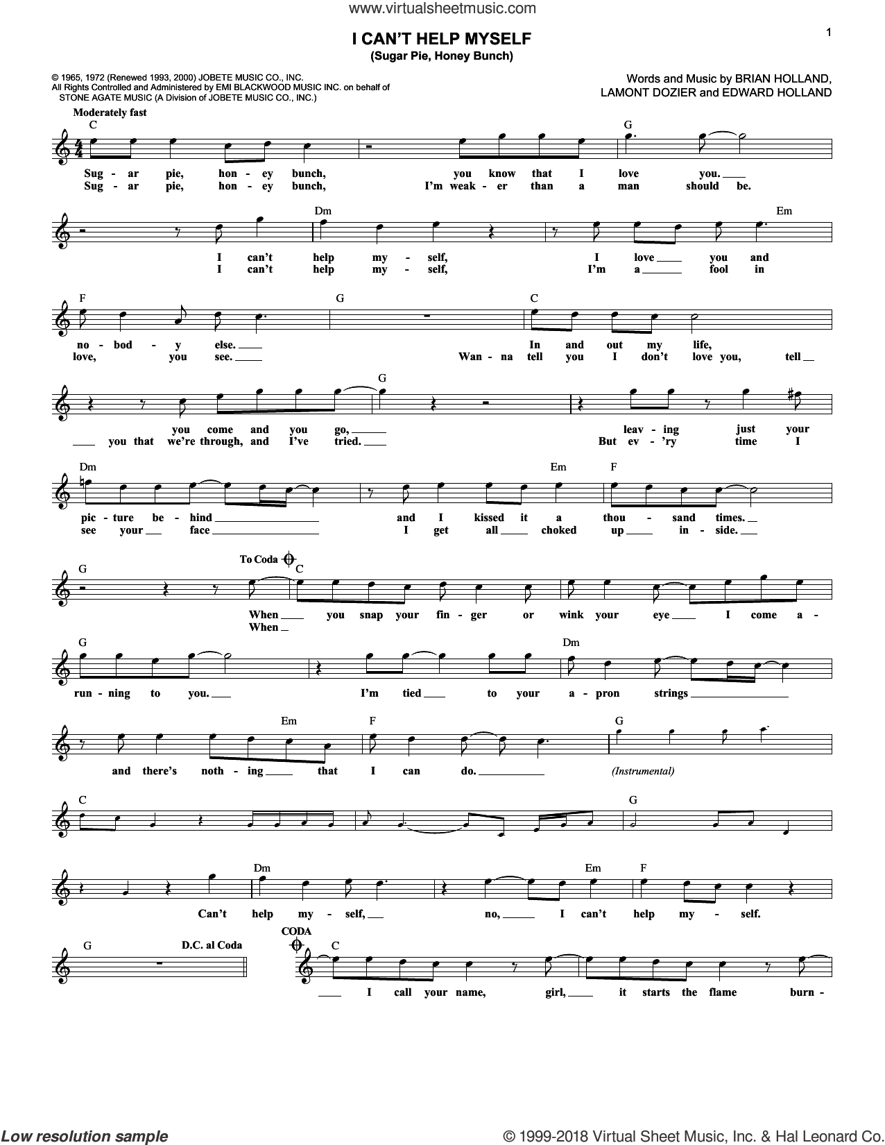 I Can't Help Myself (Sugar Pie, Honey Bunch) sheet music for voice and other instruments (fake book) by The Four Tops, Brian Holland, Eddie Holland and Lamont Dozier, intermediate. Score Image Preview.