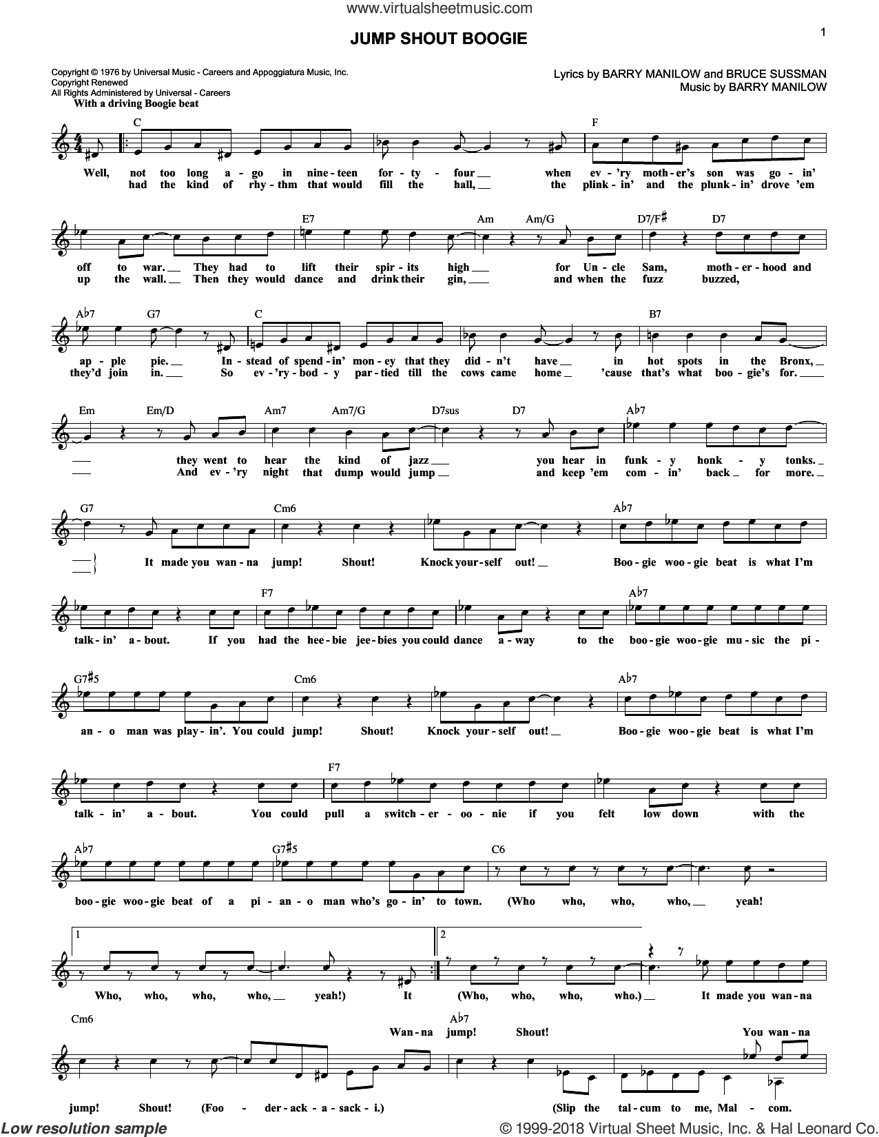 Jump Shout Boogie sheet music for voice and other instruments (fake book) by Barry Manilow and Bruce Sussman, intermediate skill level
