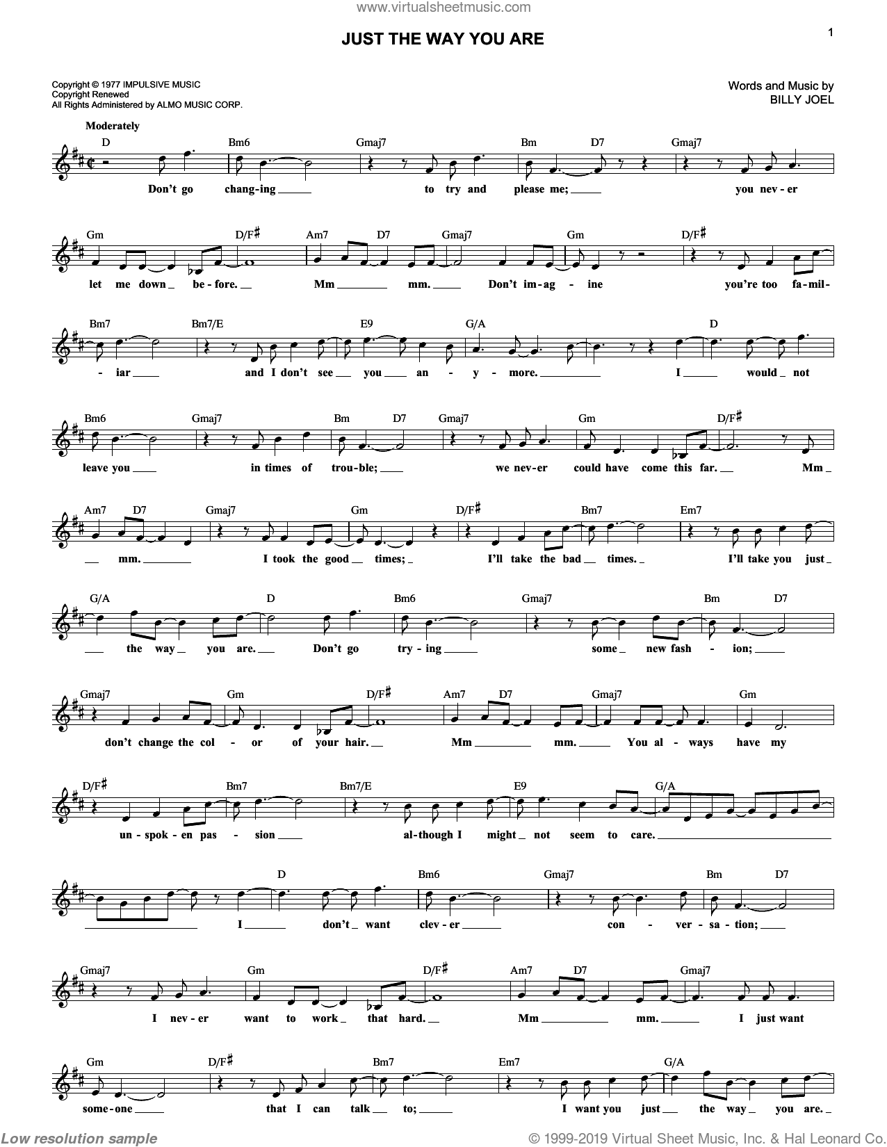 Just The Way You Are sheet music for voice and other instruments (fake book) by Billy Joel, wedding score, intermediate skill level