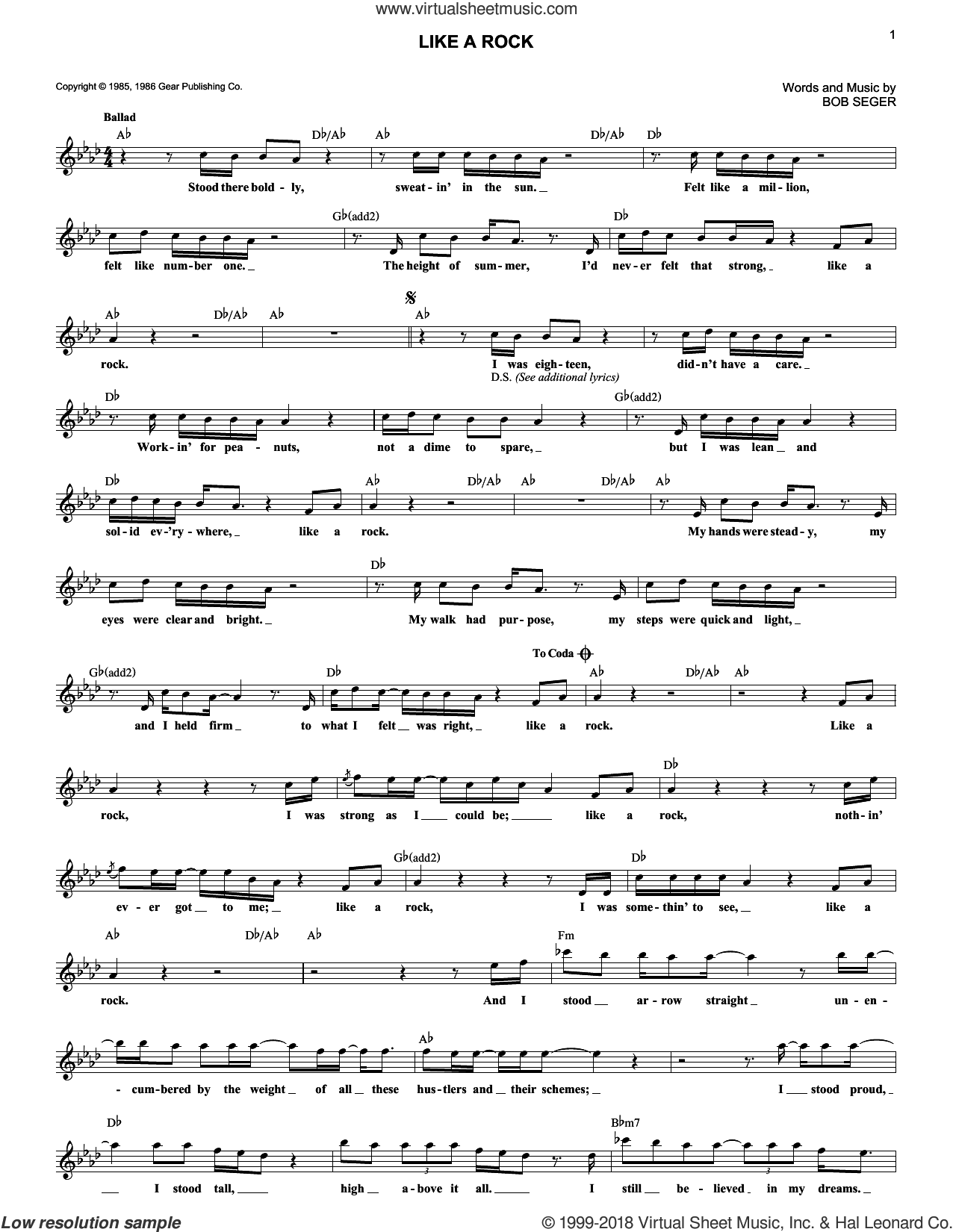 Like A Rock sheet music for voice and other instruments (fake book) by Bob Seger, intermediate skill level