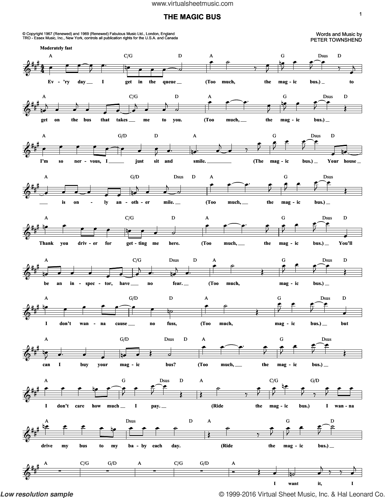 The Magic Bus sheet music for voice and other instruments (fake book) by The Who and Pete Townshend, intermediate skill level