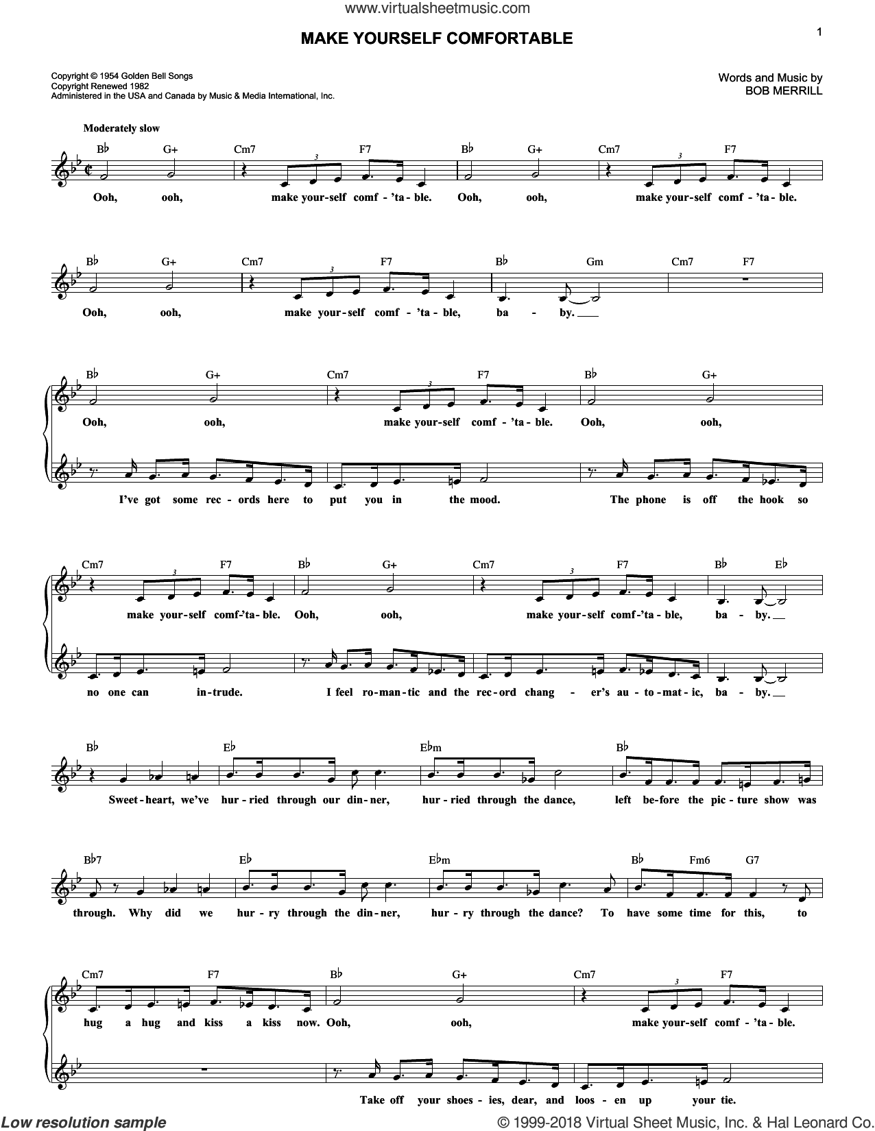 Make Yourself Comfortable sheet music for voice and other instruments (fake book) by Bob Merrill. Score Image Preview.