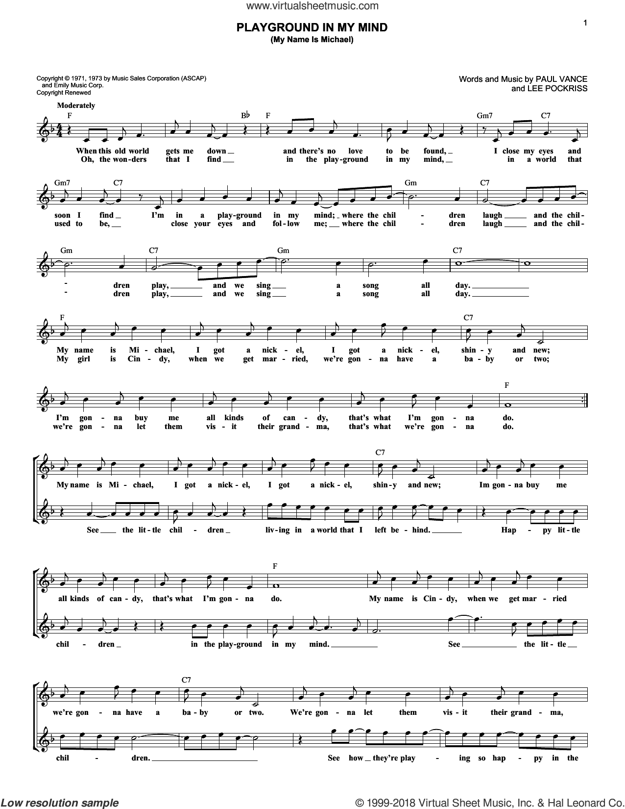 Playground In My Mind (My Name Is Michael) sheet music for voice and other instruments (fake book) by Clint Holmes, Lee Pockriss and Paul Vance, intermediate skill level