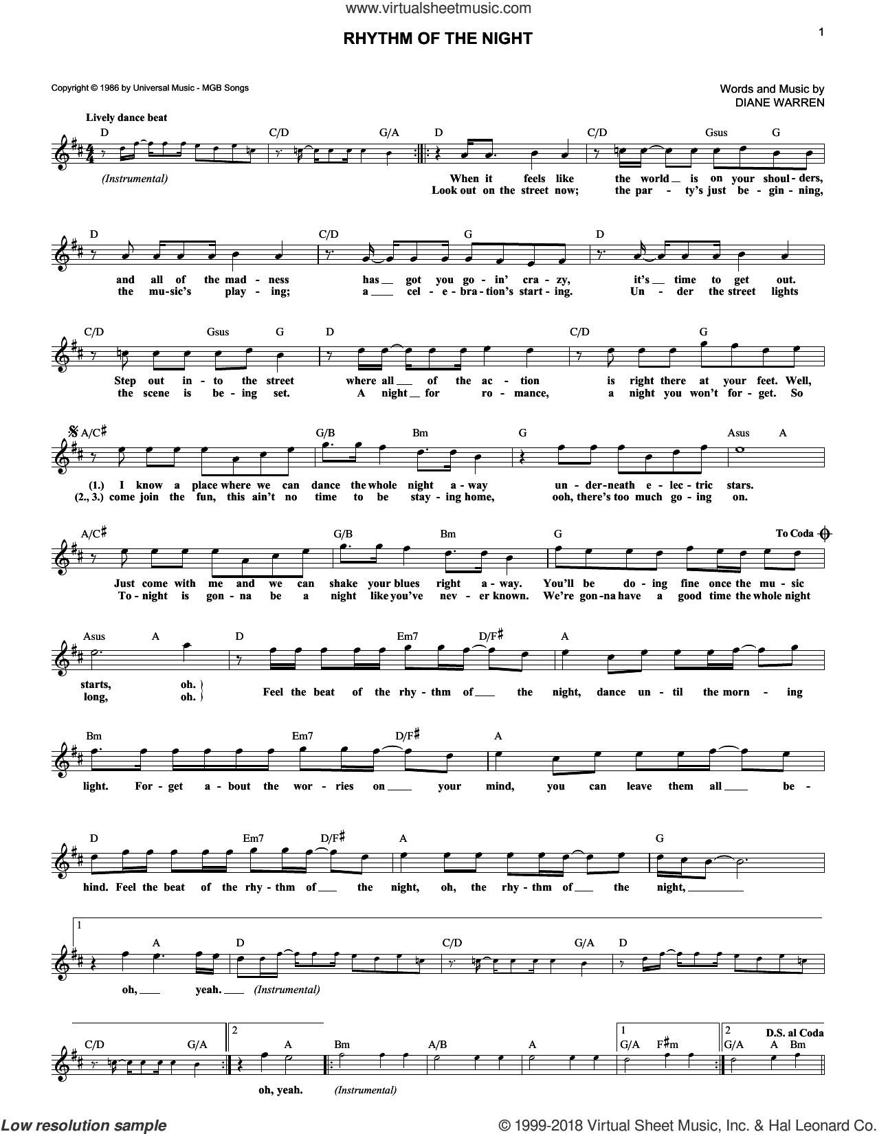 Rhythm Of The Night sheet music for voice and other instruments (fake book) by DeBarge and Diane Warren, intermediate skill level