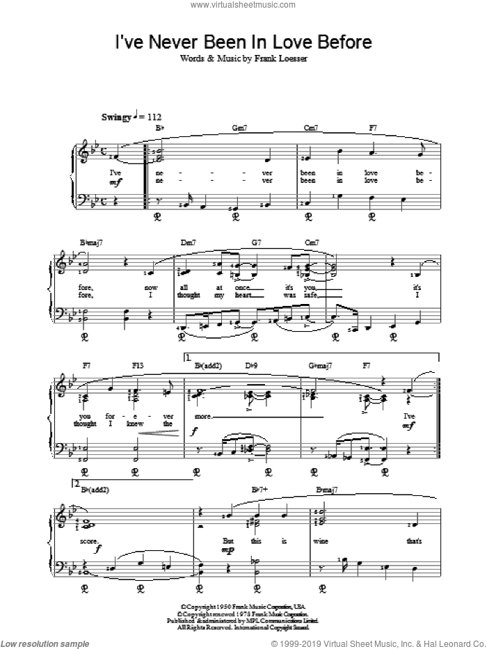 Ive Never Been In Love Before sheet music for piano solo by Frank Loesser and F Loesser, intermediate skill level