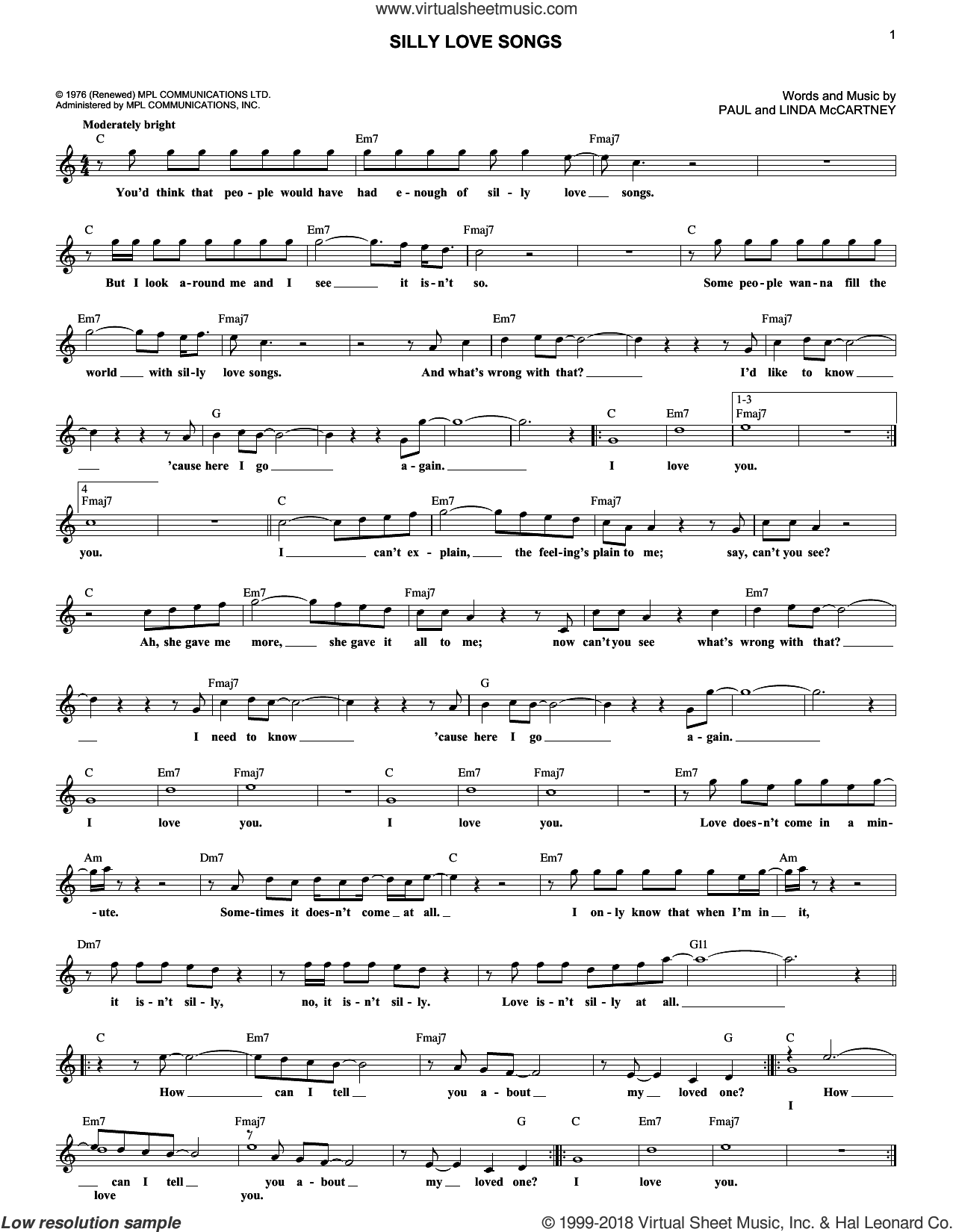 Silly Love Songs sheet music for voice and other instruments (fake book) by Paul McCartney, Paul McCartney and Wings and Linda McCartney, intermediate skill level