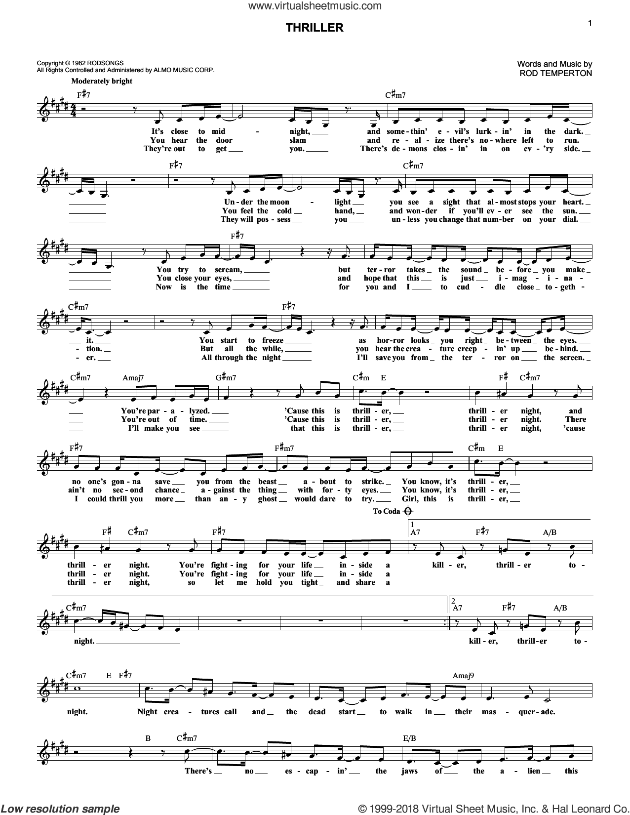 Thriller sheet music for voice and other instruments (fake book) by Michael Jackson and Rod Temperton, intermediate skill level