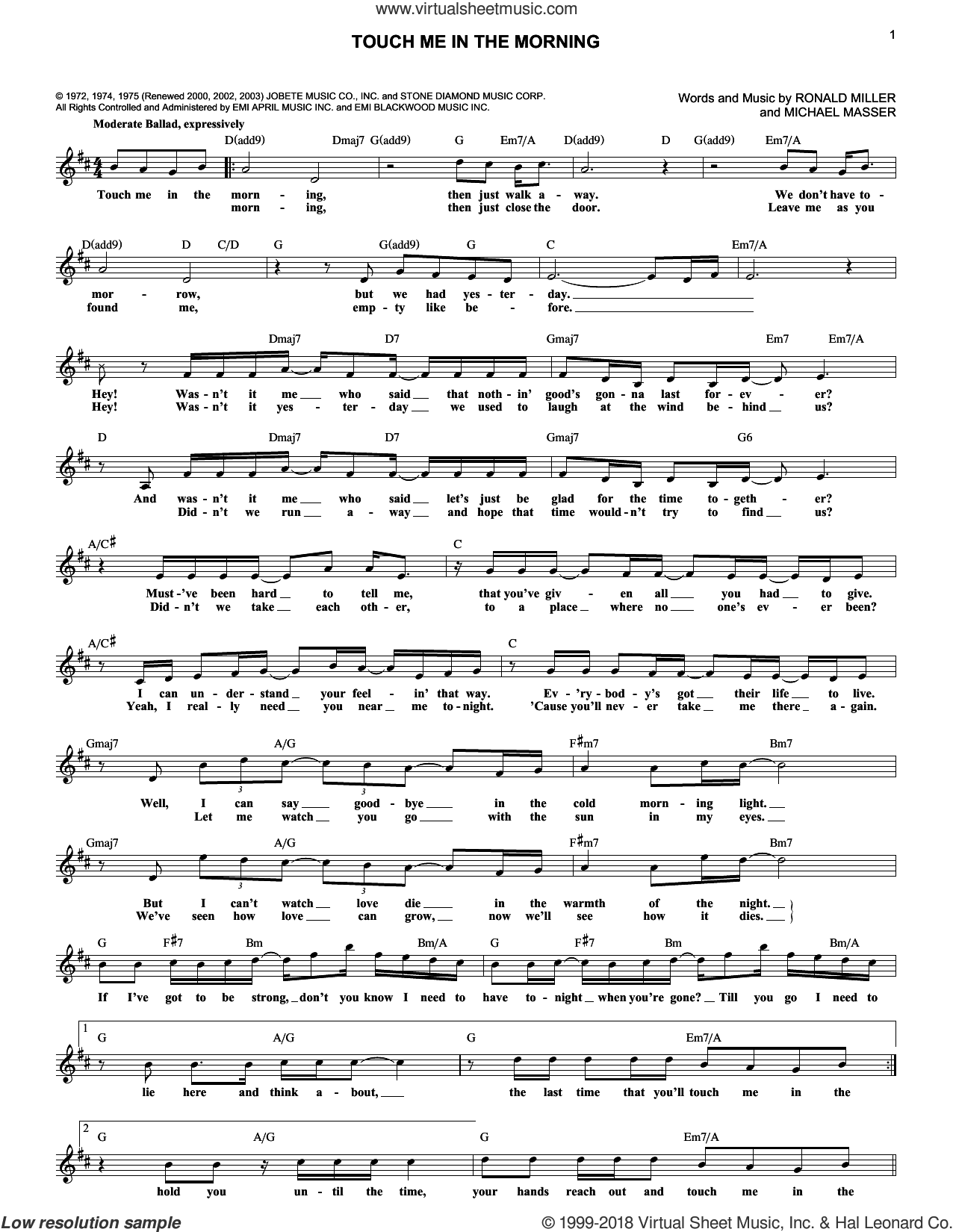 Touch Me In The Morning sheet music for voice and other instruments (fake book) by Diana Ross, Michael Masser and Ron Miller, intermediate voice. Score Image Preview.
