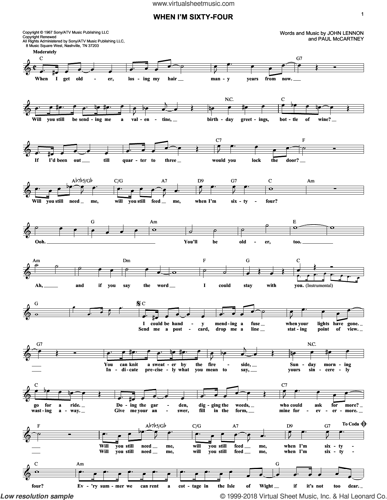 When I'm Sixty-Four sheet music for voice and other instruments (fake book) by Paul McCartney, The Beatles and John Lennon. Score Image Preview.