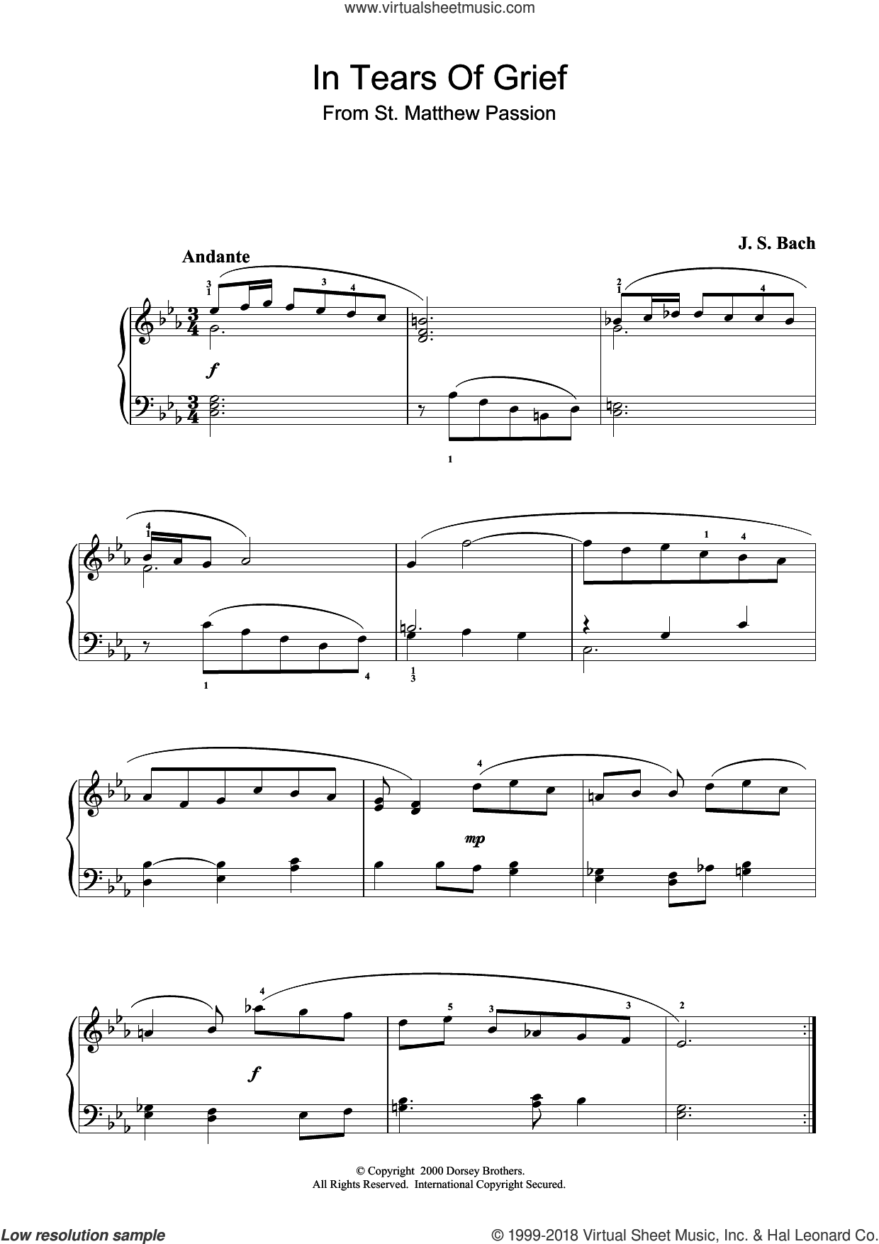In Tears Of Grief sheet music for piano solo by Johann Sebastian Bach. Score Image Preview.