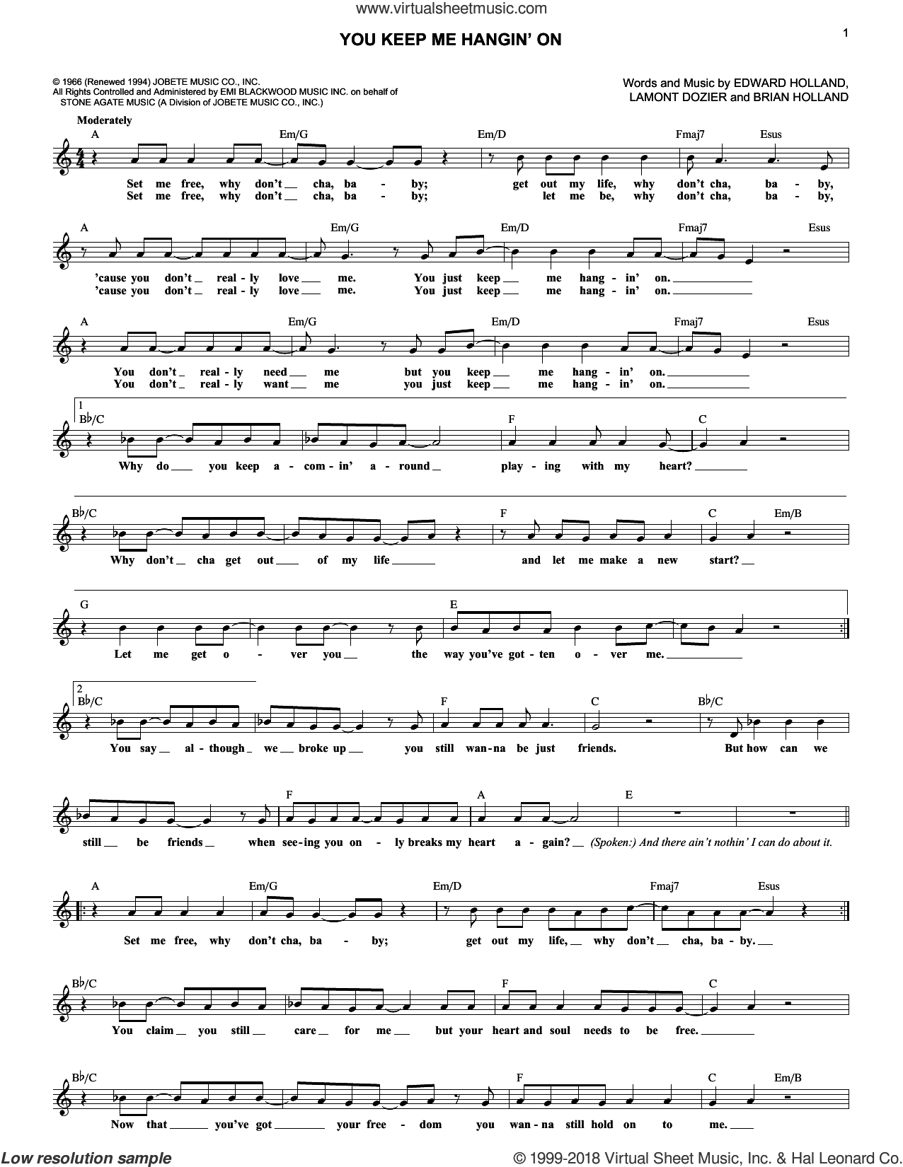 You Keep Me Hangin' On sheet music for voice and other instruments (fake book) by The Supremes, Brian Holland, Eddie Holland and Lamont Dozier, intermediate. Score Image Preview.