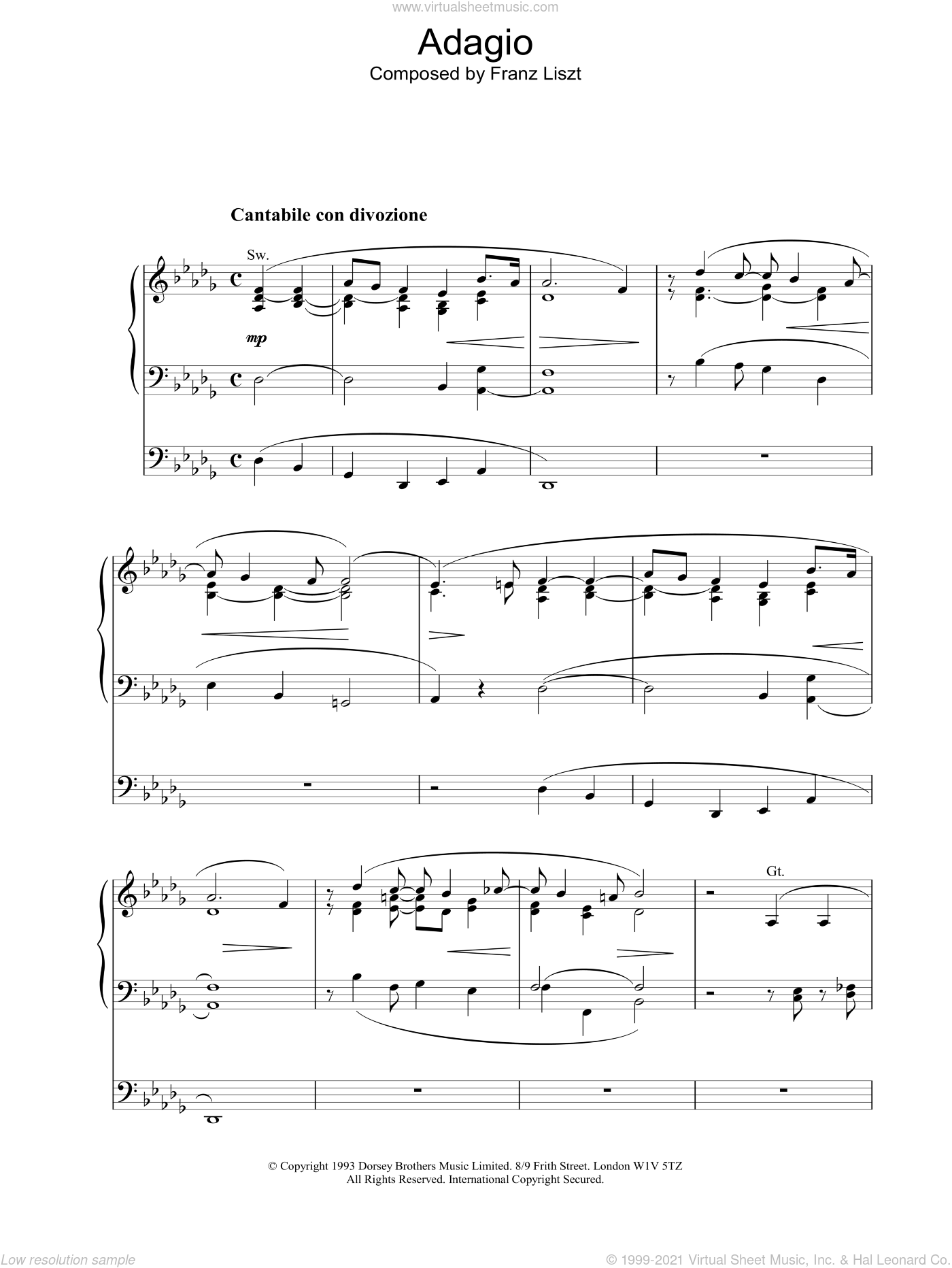 Adagio sheet music for organ by Franz Liszt. Score Image Preview.