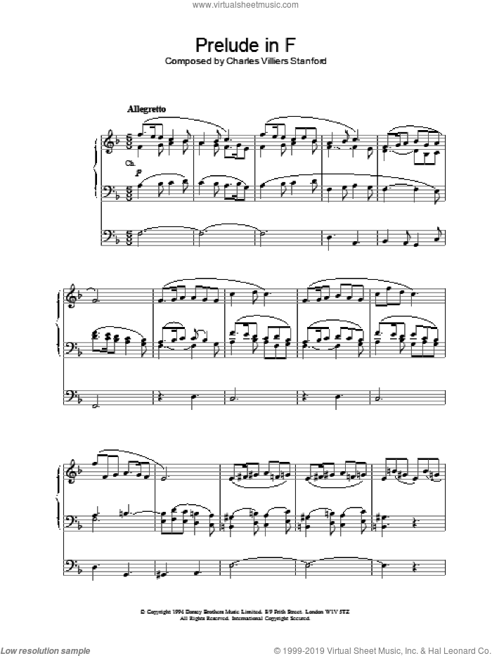 Prelude in F sheet music for organ by Charles Villiers Stanford. Score Image Preview.