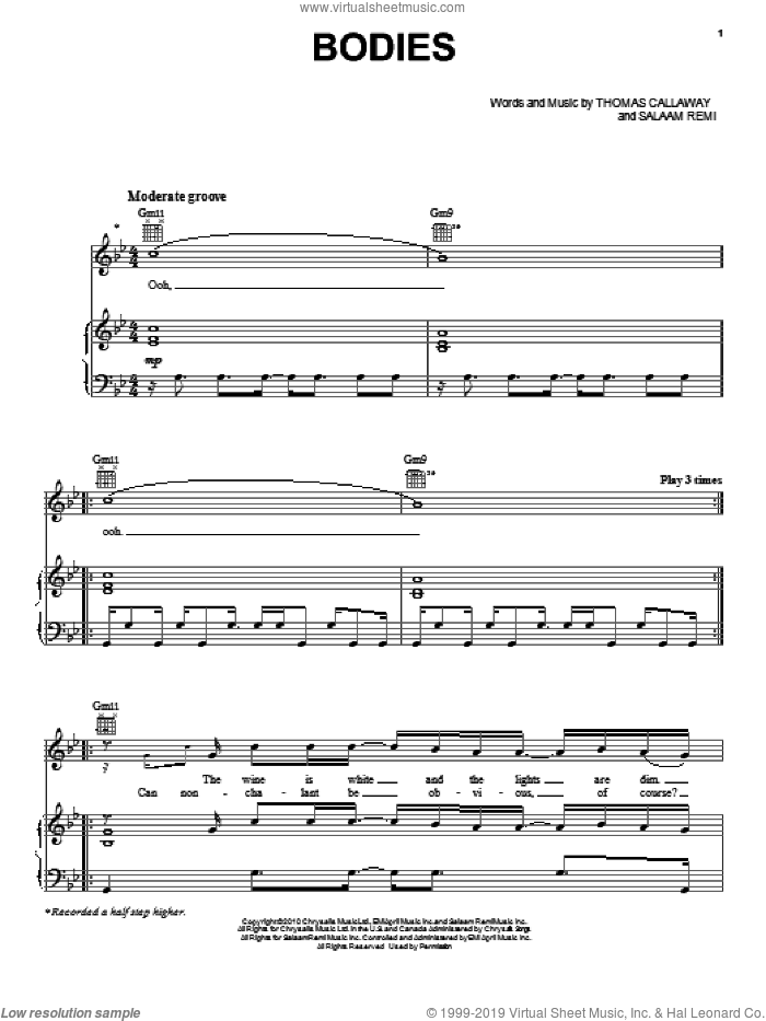 Bodies sheet music for voice, piano or guitar by Cee Lo Green, Salaam Remi and Thomas Callaway, intermediate skill level