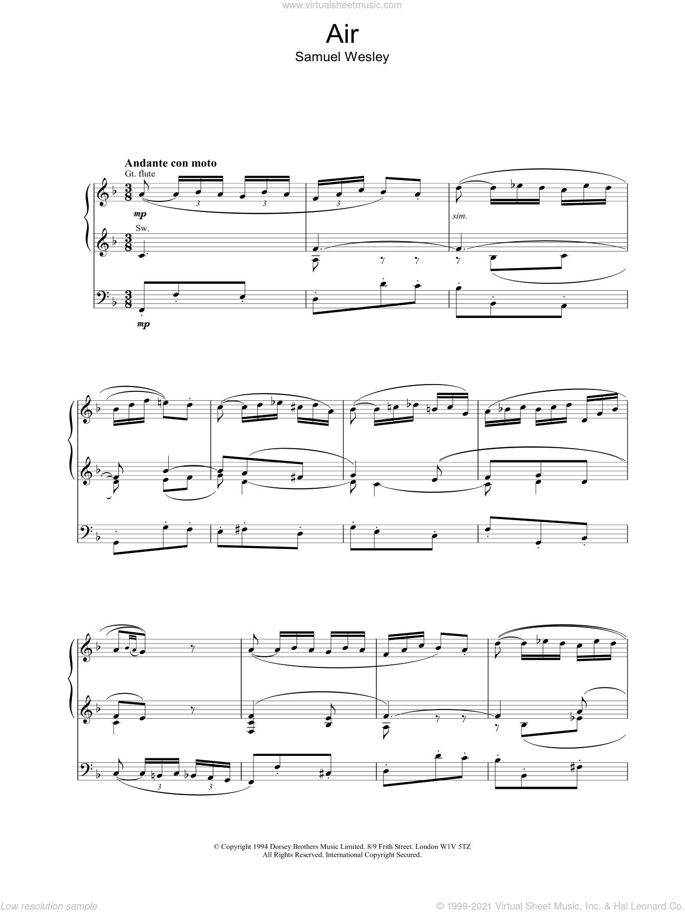 Wesley - Air sheet music for organ [PDF]