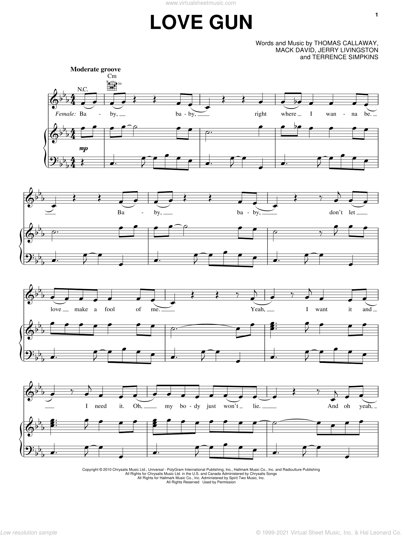 Love Gun sheet music for voice, piano or guitar by Thomas Callaway, Cee Lo Green, Jerry Livingston and Mack David. Score Image Preview.