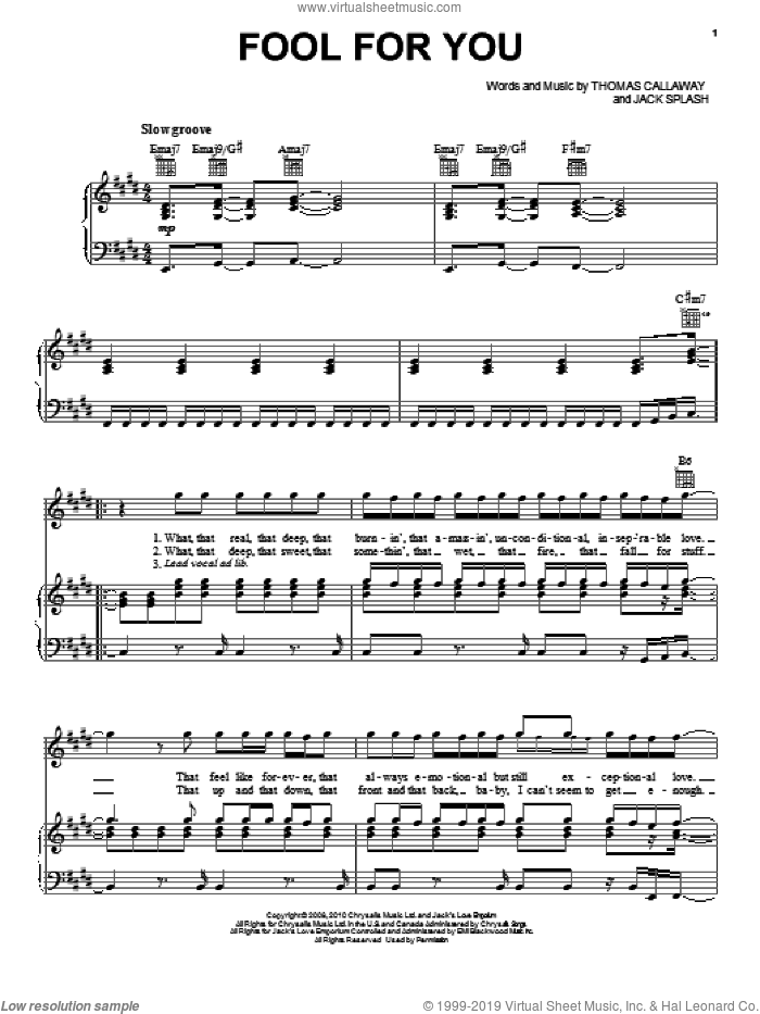 Fool For You sheet music for voice, piano or guitar by Thomas Callaway, Cee Lo Green and Jack Splash. Score Image Preview.