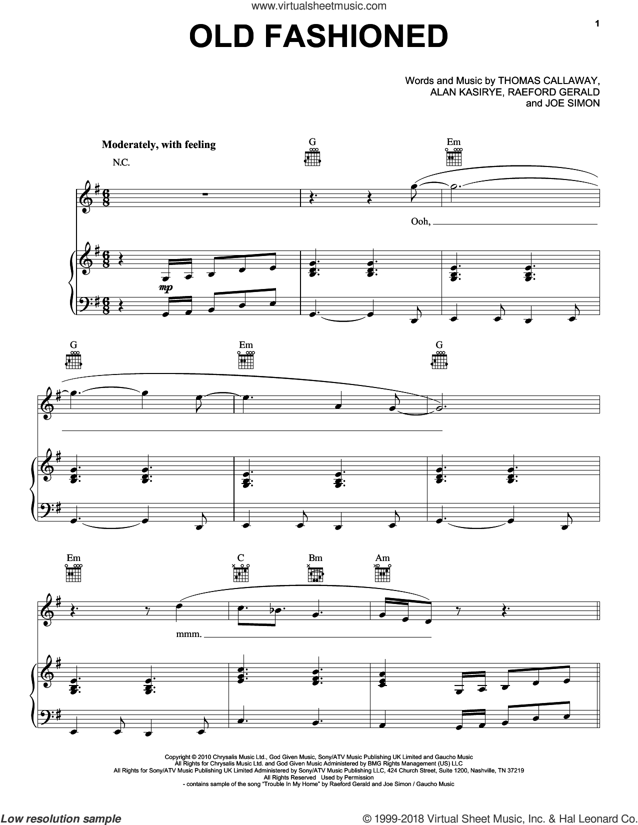 Old Fashioned sheet music for voice, piano or guitar by Thomas Callaway