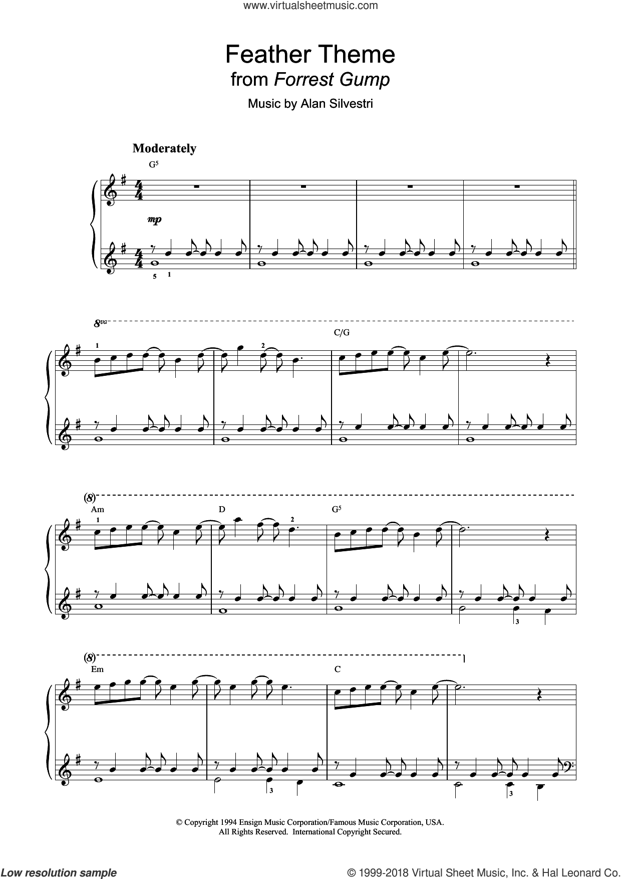 Feather Theme sheet music for piano solo by Alan Silvestri
