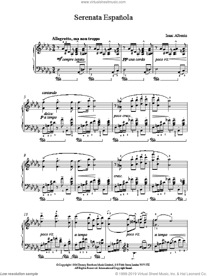 Serenata Espanola sheet music for piano solo by Isaac Albeniz
