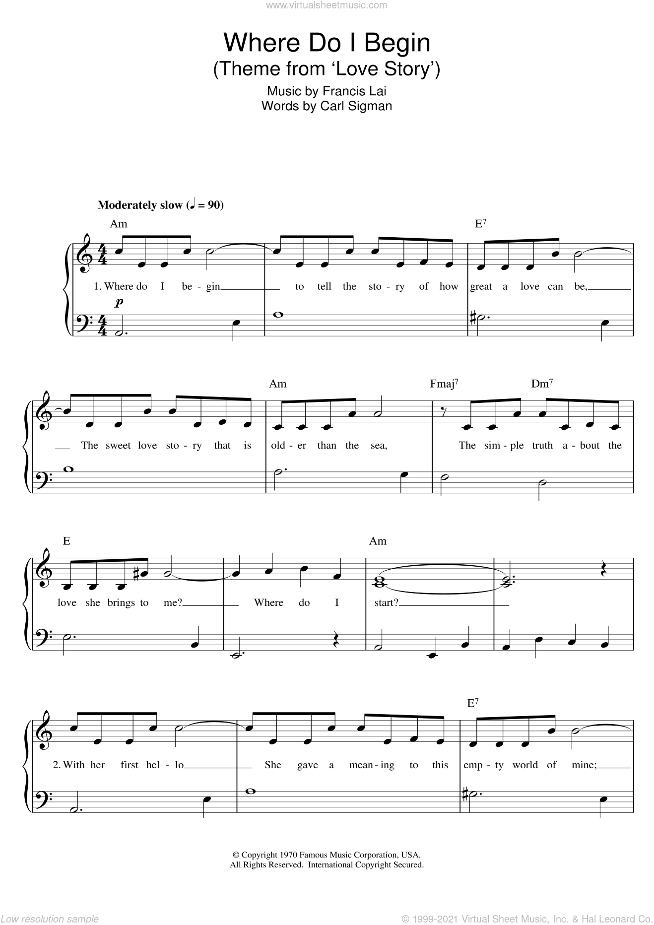 Where Do I Begin sheet music for piano solo by Francis Lai, C Sigman, Carl Sigman and Francis Lai And Carl Sigman, classical score, intermediate skill level