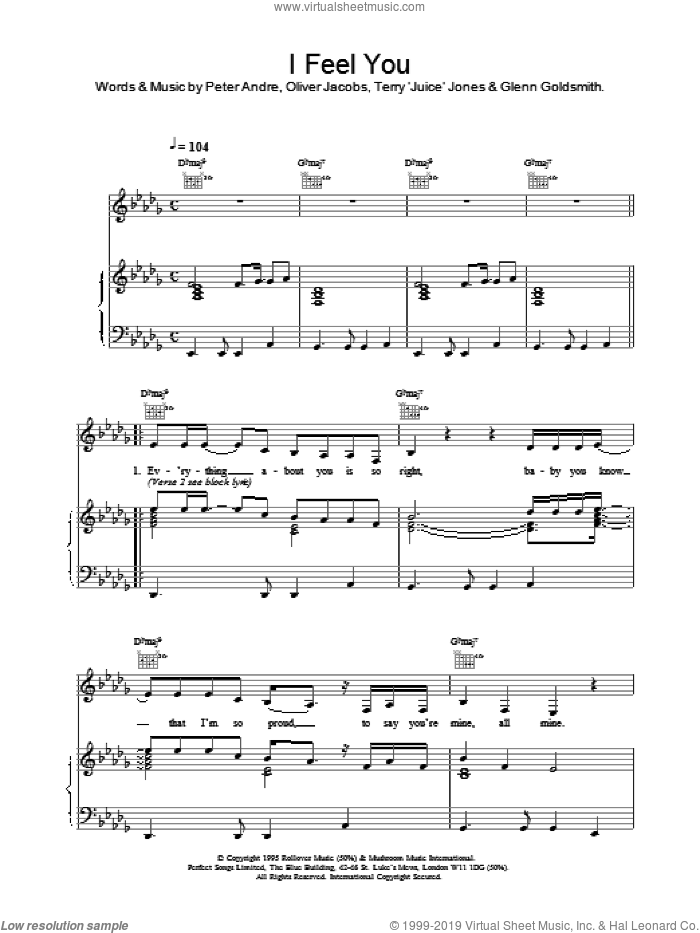 I Feel You sheet music for voice, piano or guitar by Oliver Jacobs