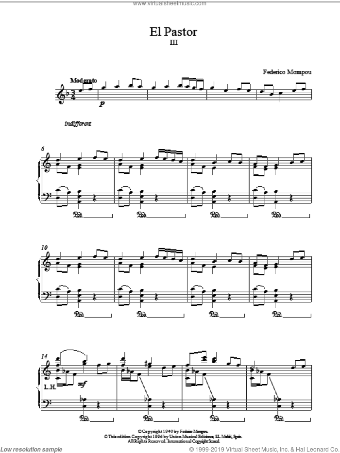 El Pastor III sheet music for piano solo by Federico Mompou. Score Image Preview.