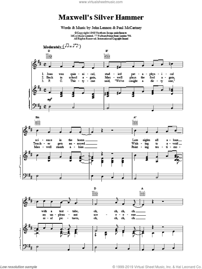 Maxwell's Silver Hammer sheet music for voice, piano or guitar by Paul McCartney and The Beatles. Score Image Preview.