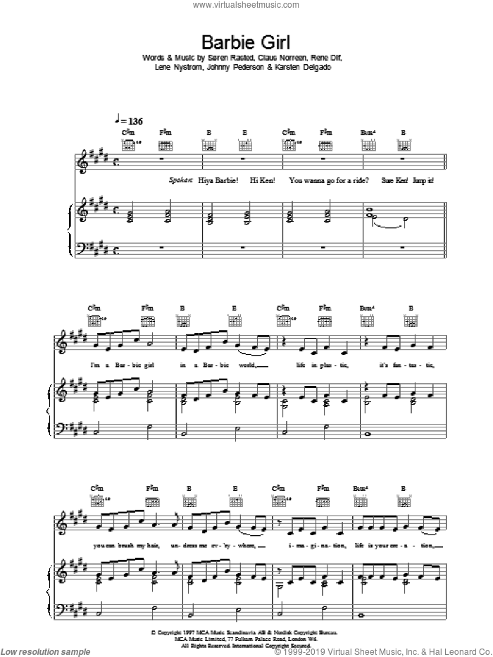 Barbie sheet music for voice, piano or guitar by Soren Rasted and Aqua. Score Image Preview.