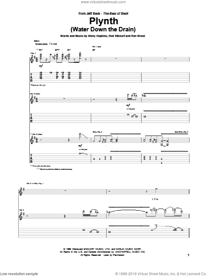 Plynth (Water Down The Drain) sheet music for guitar (tablature) by Ron Wood, Jeff Beck and Rod Stewart. Score Image Preview.