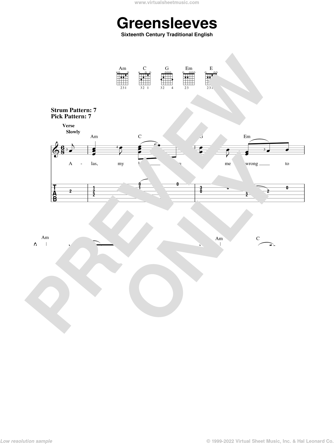 Greensleeves sheet music for guitar solo (easy tablature), easy guitar (easy tablature)