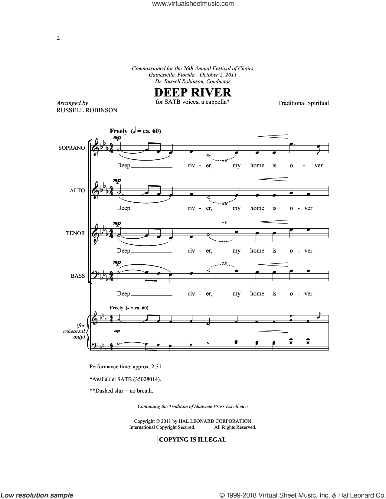 Deep River sheet music for choir and piano (SATB)  and Russell Robinson. Score Image Preview.