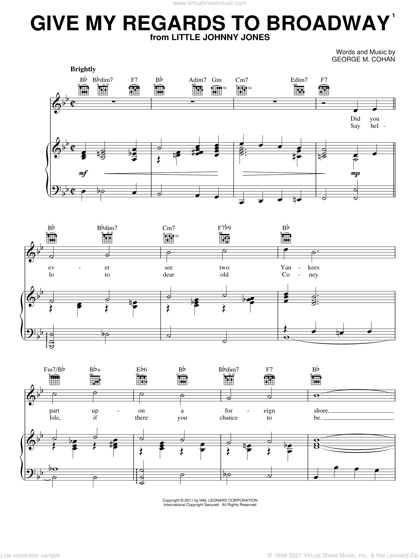 Give My Regards To Broadway sheet music for voice, piano or guitar by Showtune and George Cohan, intermediate voice, piano or guitar. Score Image Preview.
