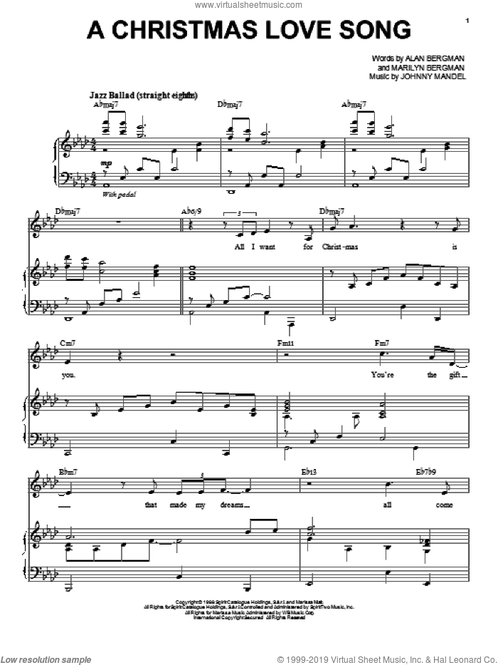 A Christmas Love Song sheet music for voice and piano by Tony Bennett, Barbra Streisand, Alan Bergman, Johnny Mandel and Marilyn Bergman, intermediate skill level