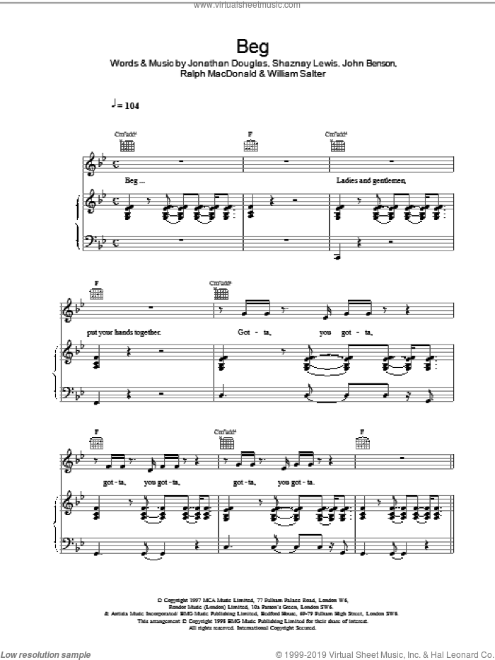 Beg sheet music for voice, piano or guitar by Sam Lewis