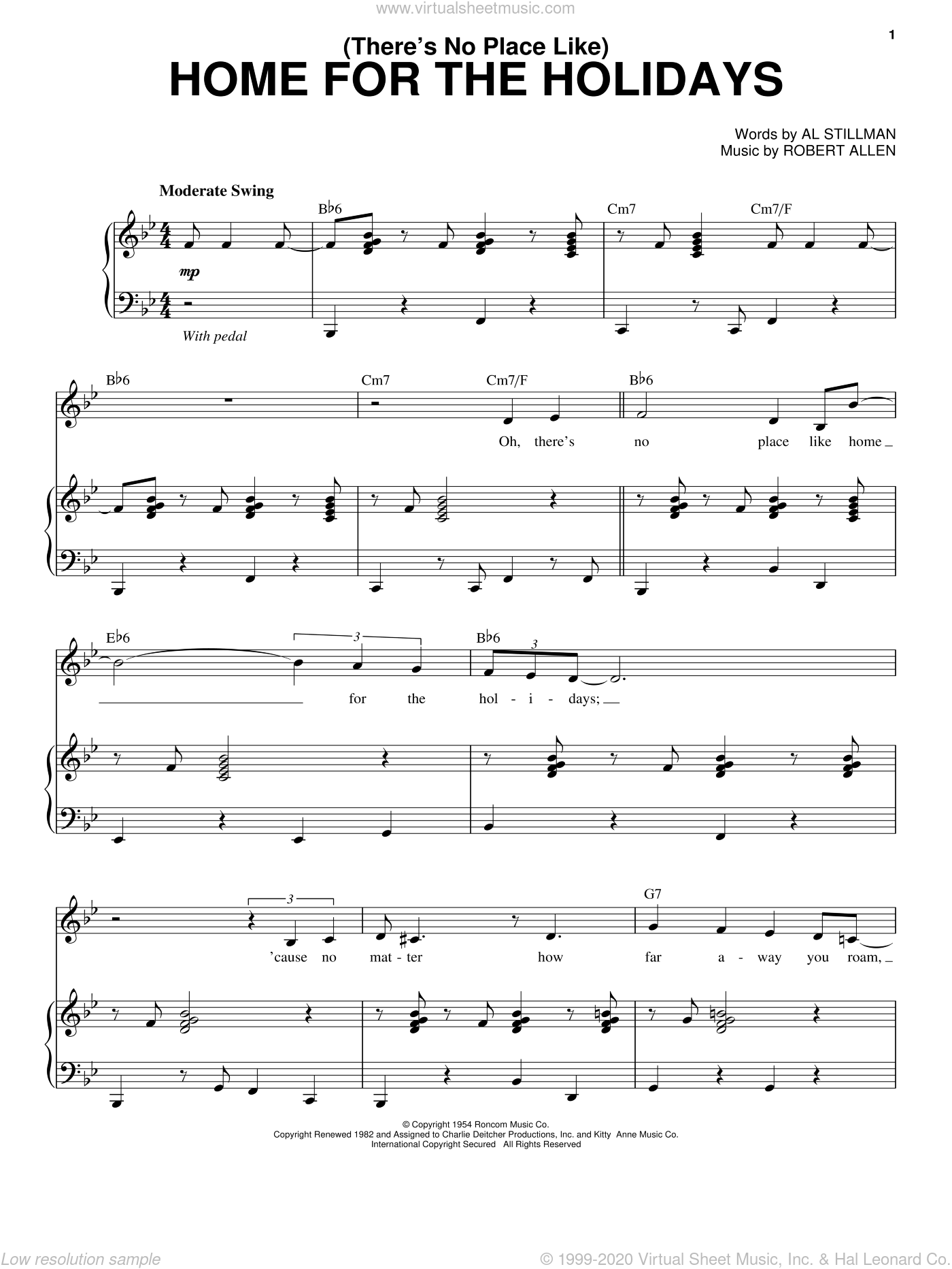(There's No Place Like) Home For The Holidays sheet music for voice and piano by Robert Allen