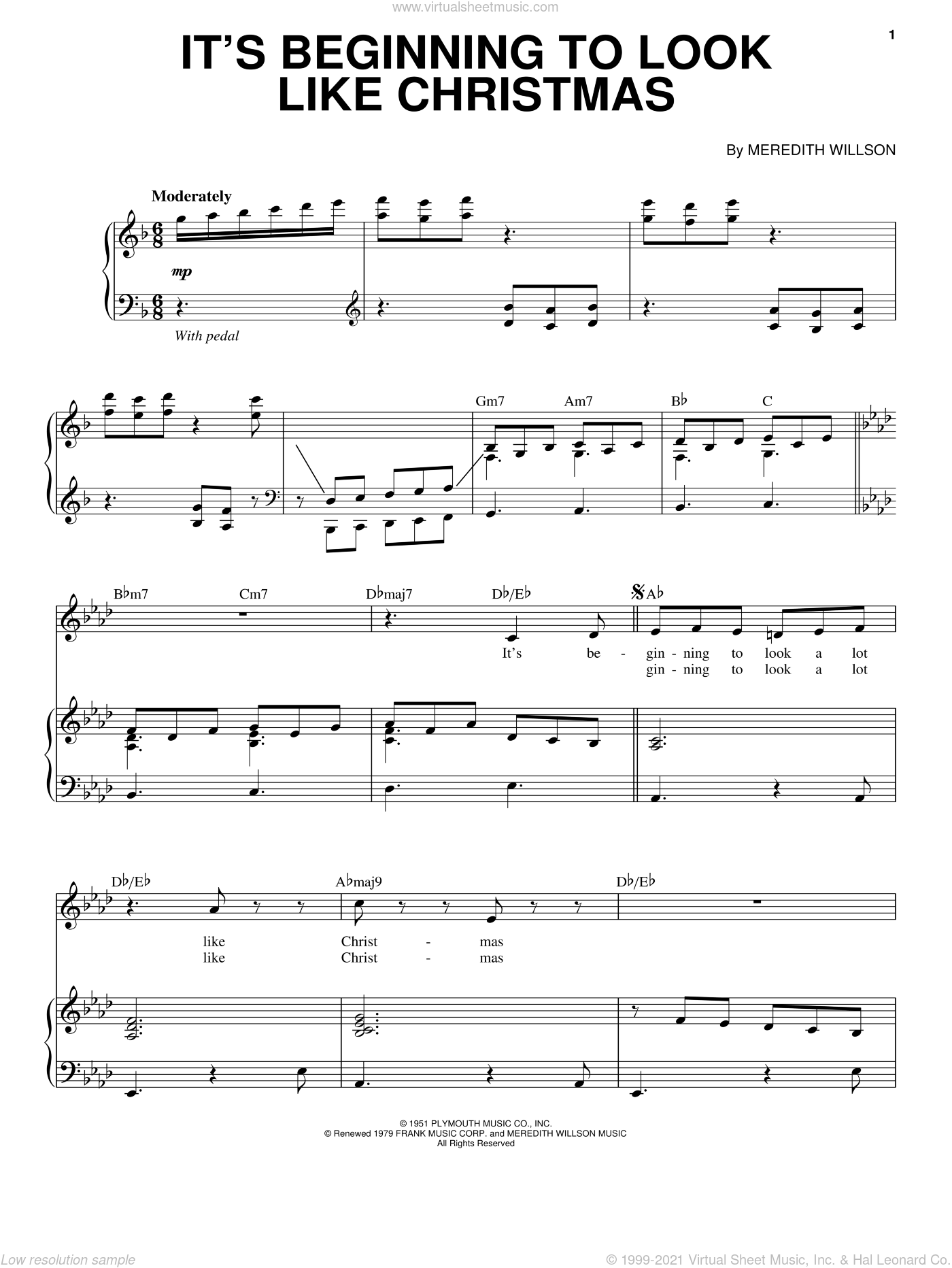 It's Beginning To Look Like Christmas sheet music for voice and piano by Johnny Mathis and Meredith Willson, intermediate skill level