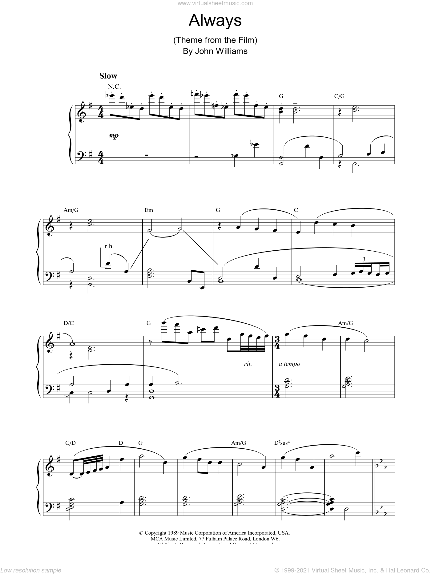 Always sheet music for piano solo by John Williams, intermediate skill level