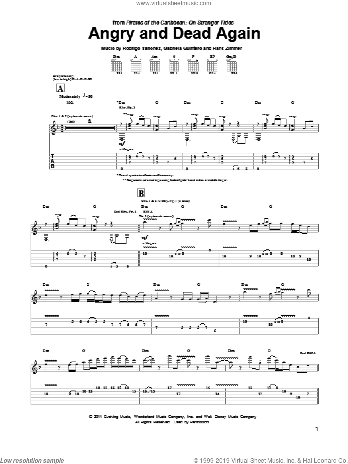 Angry And Dead Again sheet music for guitar (tablature) by Rodrigo Sanchez, Hans Zimmer and Rodrigo y Gabriela. Score Image Preview.