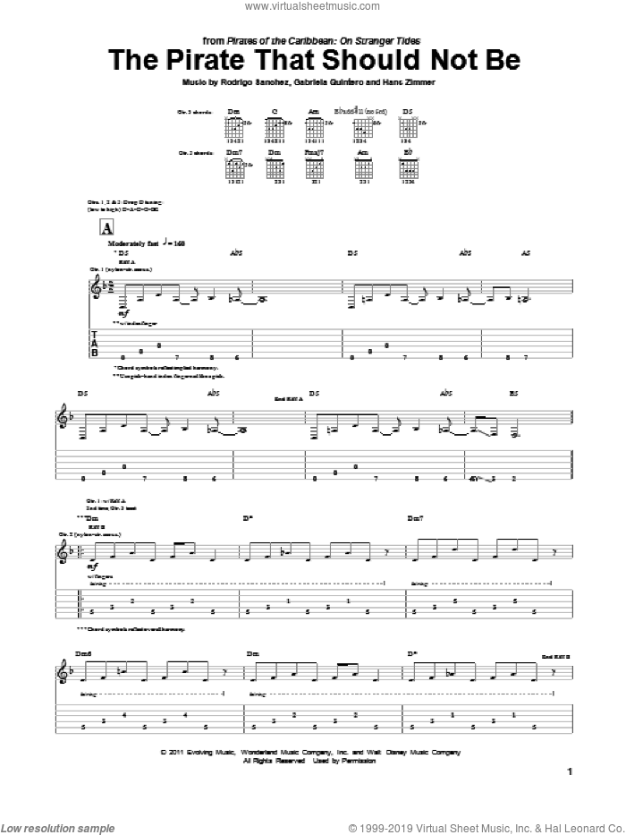 The Pirate That Should Not Be sheet music for guitar (tablature) by Rodrigo Sanchez, Hans Zimmer and Rodrigo y Gabriela. Score Image Preview.